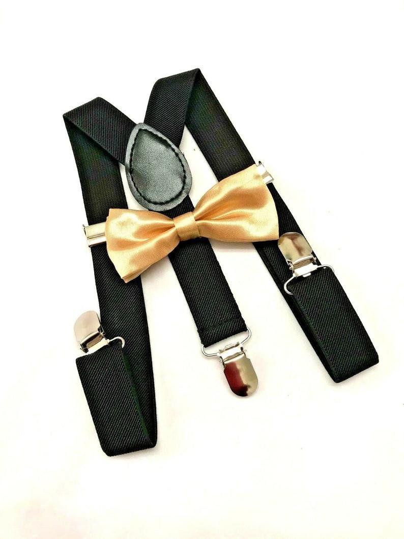 Adult Metallic GOLD GLITTER Suspenders and Bow Tie Set Adjustable Wedding Prom