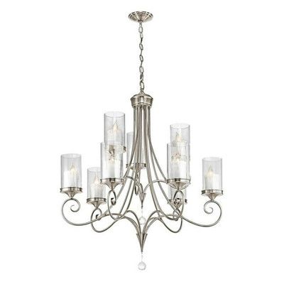 Kichler Laurel 9 Light Candle Style Chandelier Finish Classic Pewter Dining Room