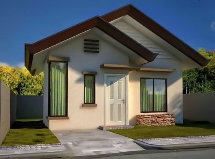 Modelo De Casa Pequena Blanca Y Techo Cafe Jpg 684 508 Pixeles Casas De Un Piso Casas Modernas Simples Casas