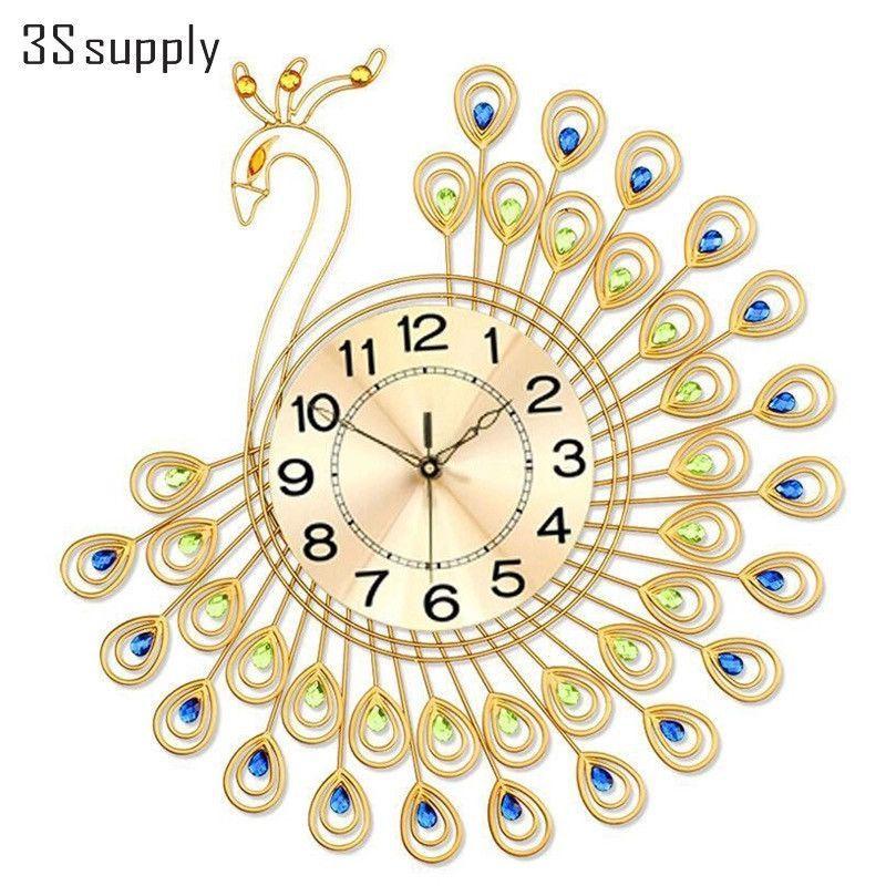 nice design quiet wall clock. Modern Design Large Peacock Wall Clock with Diamond Quiet Quartz Circle  Bracket Living Room