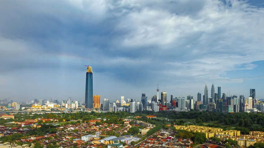 Time Lapse Kuala Lumpur City Wide Angle View From Afar