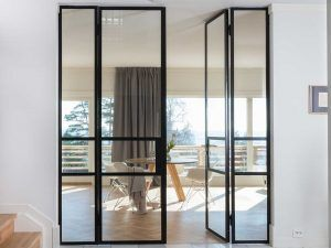 French doors with fixed sidepanels. Order at: www.metalform….