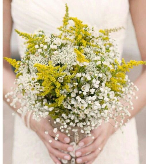 Saliago Rice Flower White Wax Flower And Baby S Breath For A Bohemian Bouquet Yellow Wedding Flowers Wildflower Bouquet Yellow Bridal Bouquets