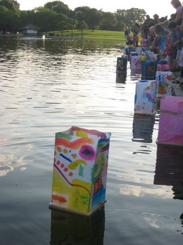 These look like floating boats or lantern bags. The bags appear to have strings to release them on the water and then bring them back. Beautiful! by Takoma Park Cooperative Nursery School, via Flickr