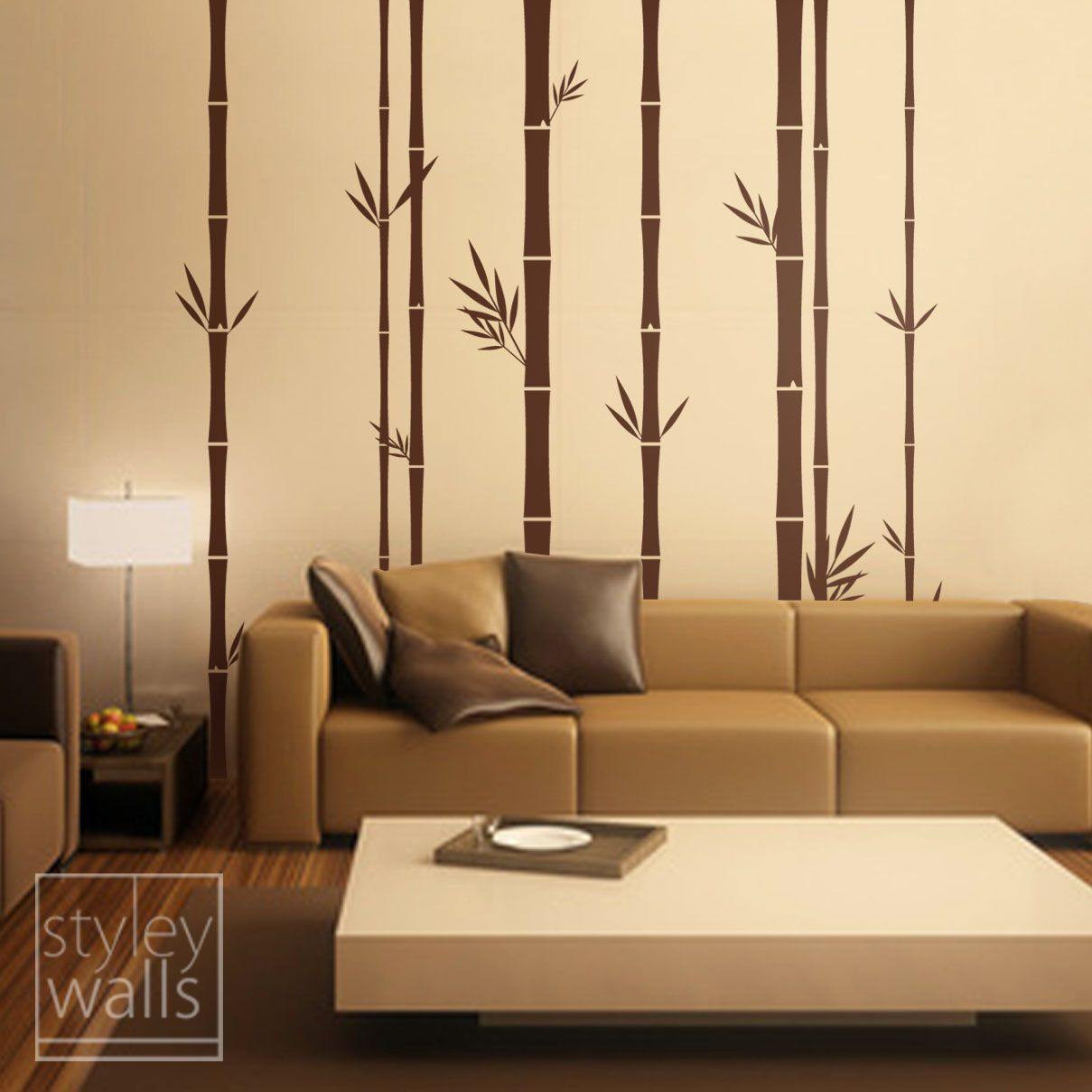 bamboo wall decal 100inch tall, set of 8 bamboo stalks vinyl wall