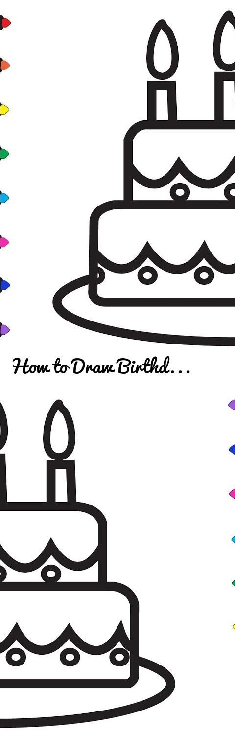 How to Draw Birthday Cake for Kids k Birthday Cake Coloring Page
