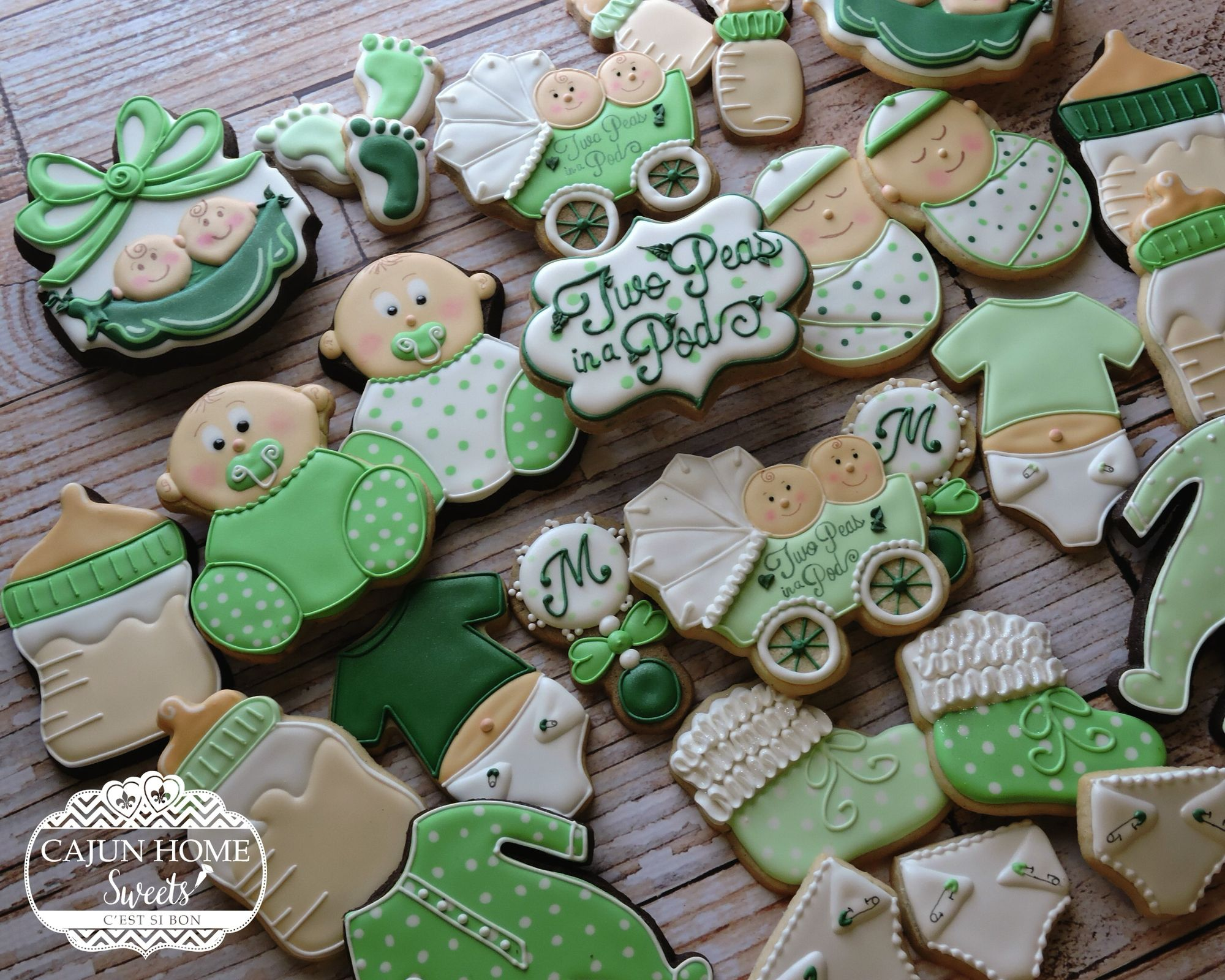 Two Peas in a Pod cookies Twins baby shower cookies