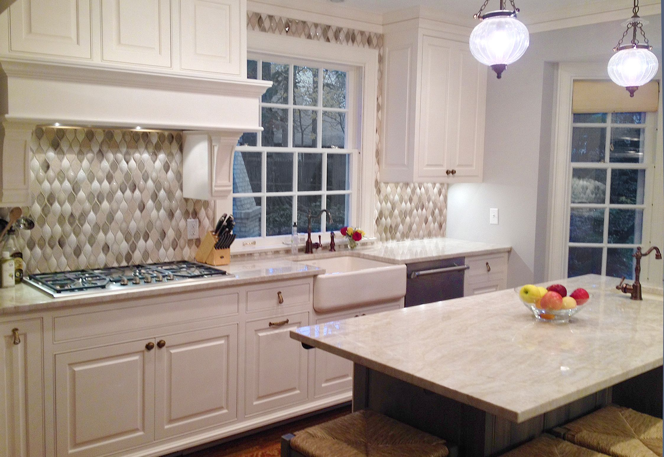 Traditional Kitchen Backsplash Encore Ceramics  Wave Mosaic With Added Dimensionals Makes The