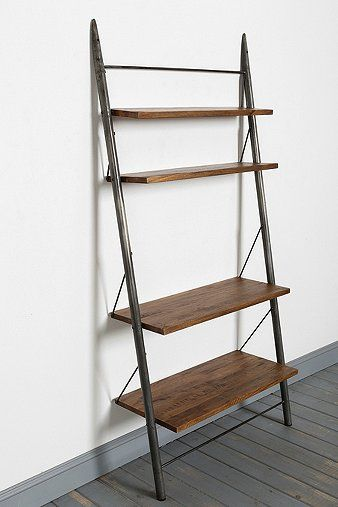 Locust Leaning Bookshelf Grey Wooden Floor Shelves