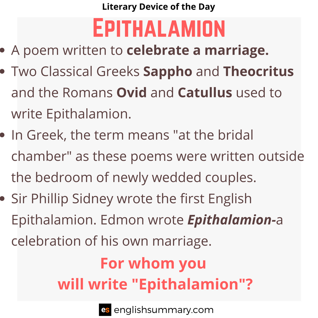 Epithalamion Meaning And Examples