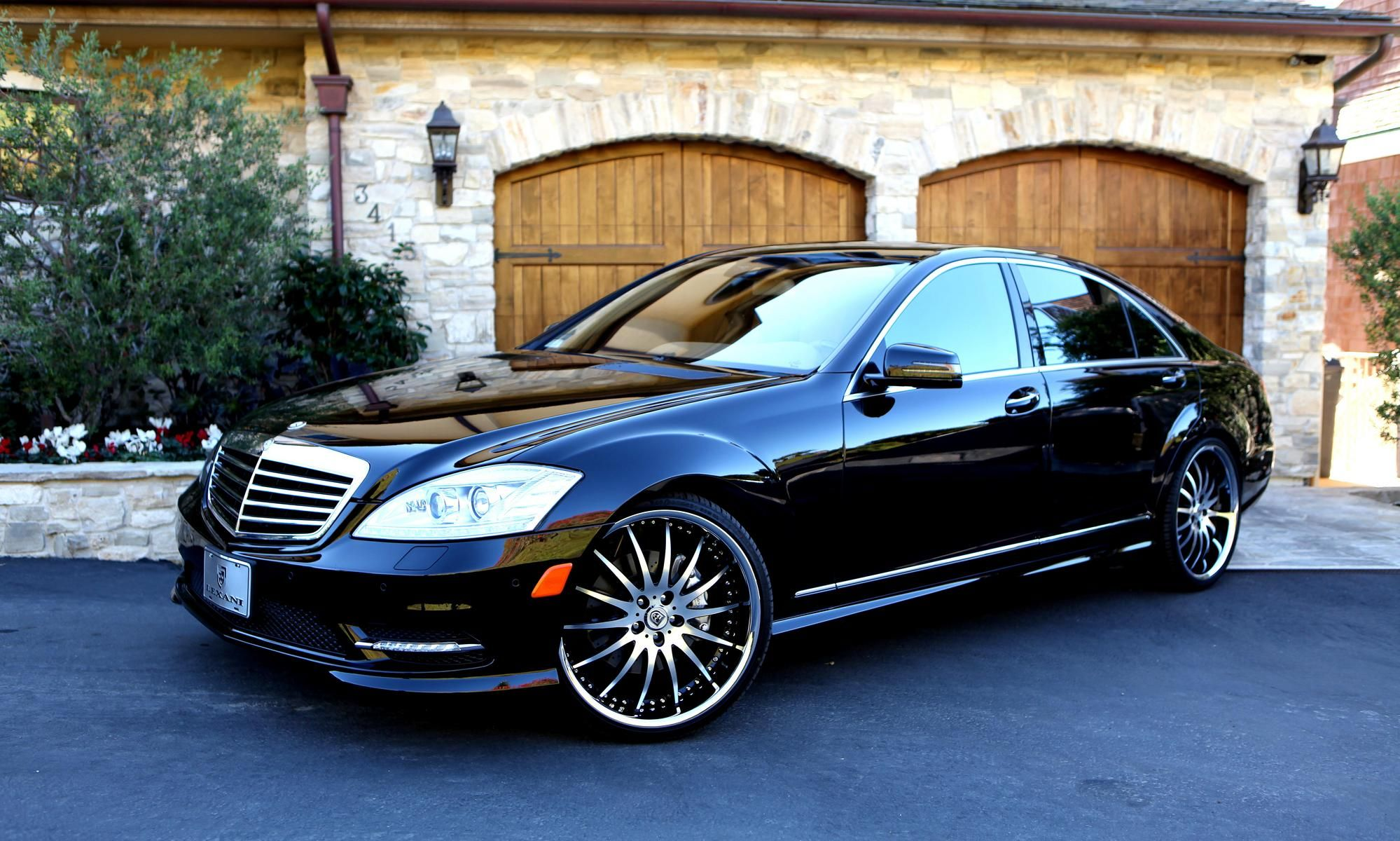 2012 black mercedes s550 with machined black and chrome for Mercedes benz s550 rims