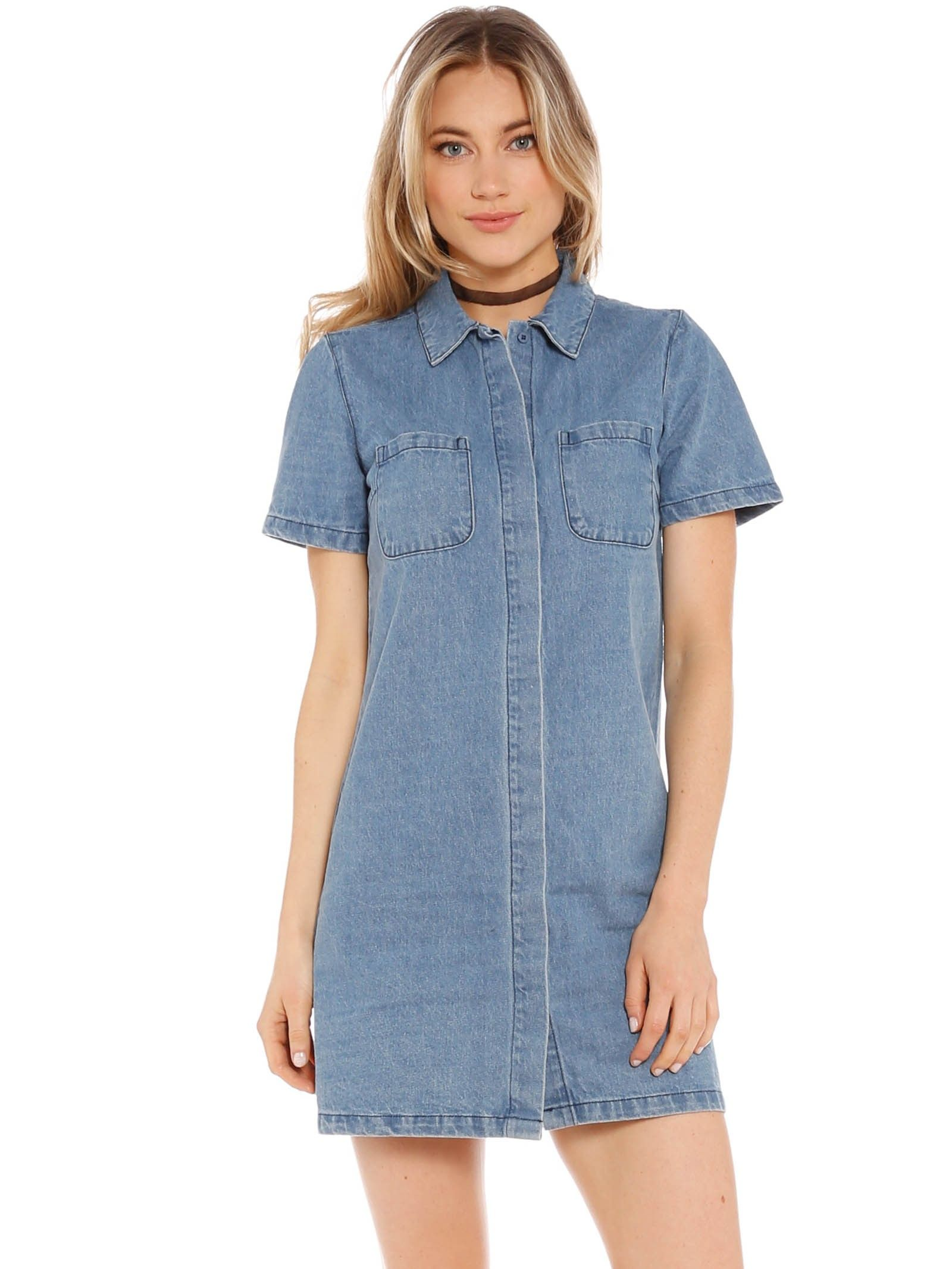c966406ae31 Forever 21 Stone Washed Denim Shirt Dress