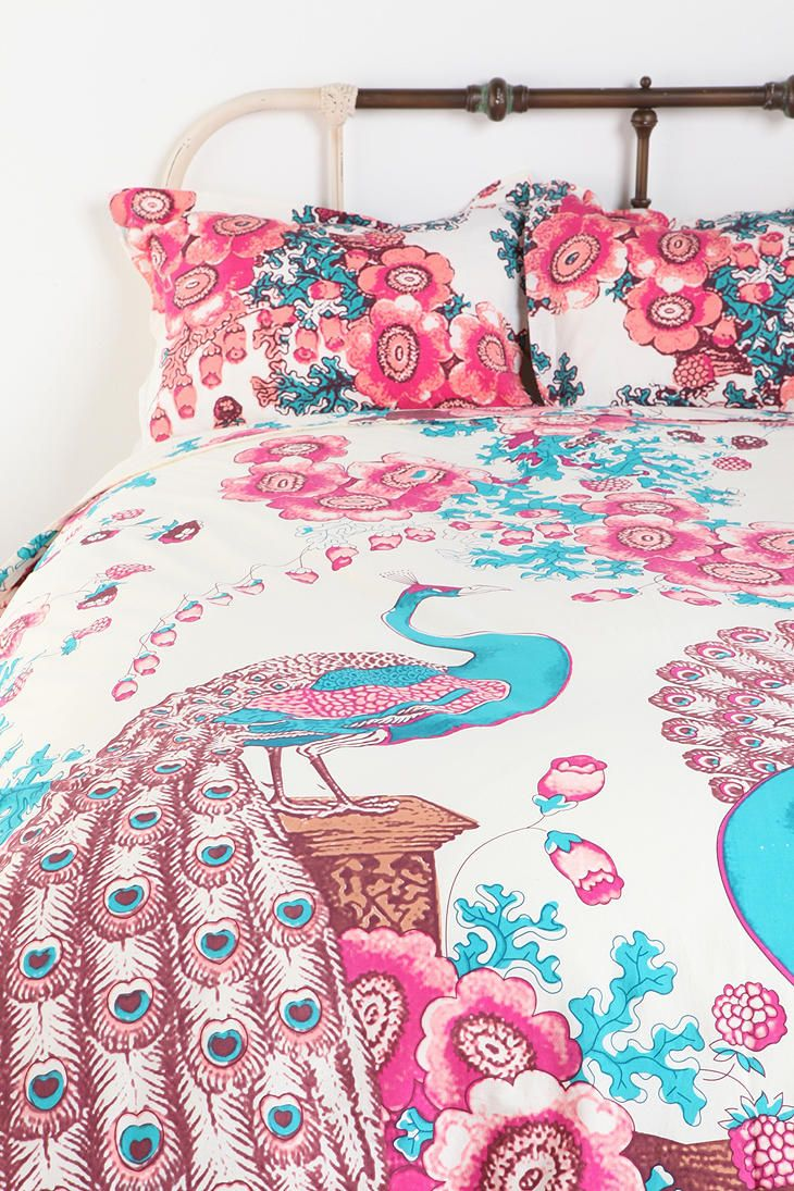 Peacock and Flowers Percale Cotton Duvet Cover Cotton
