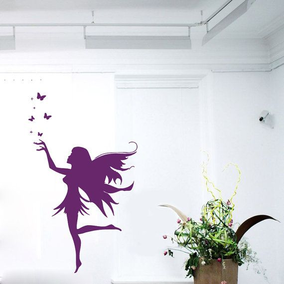 Tinkerbell Wall Decals Fairy Girl Butterflies Beauty Salon Art Mural  Interior Design Vinyl Decal Sticker Kids