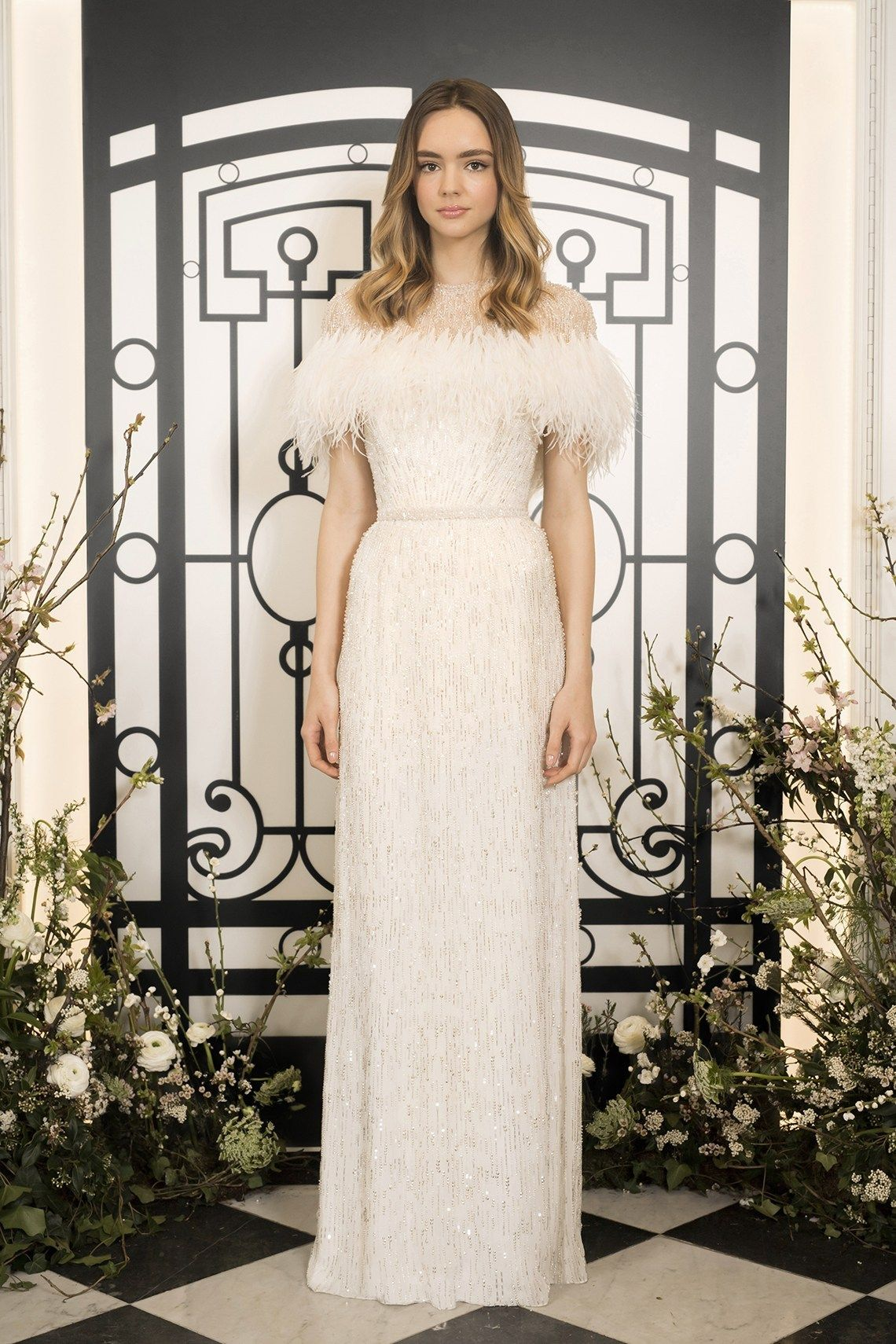 b8e8cf509373 Destination brides will love Jenny Packham's sparkling & feather  embellished new wedding dress collection