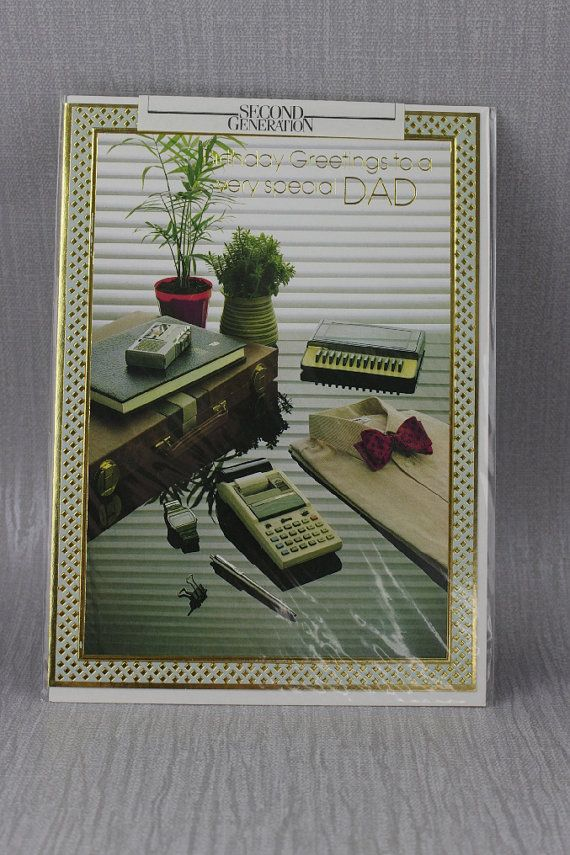 Unused Birthday Greetings to a very Special Dad Card Old New Stock Card with Envelope Sealed Mens Gadget Briefcase Design