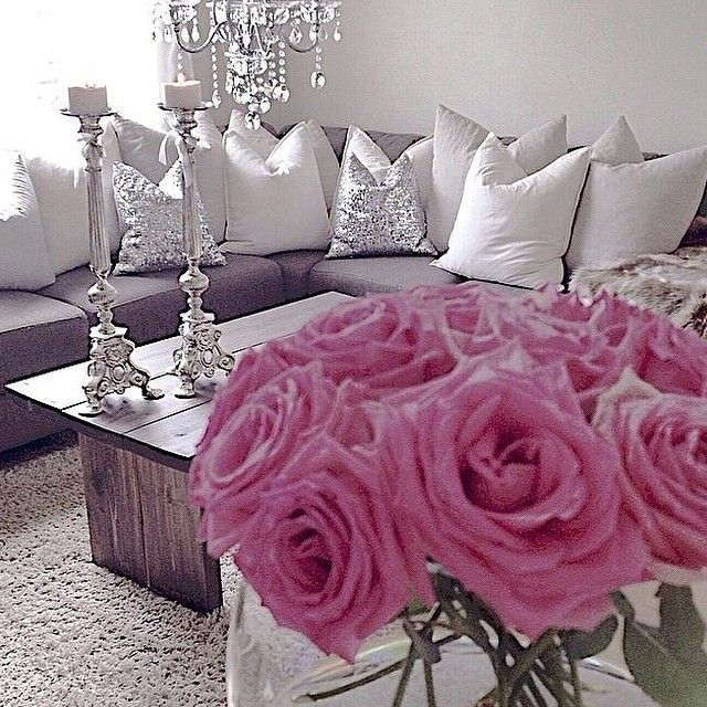 The lift grey couch with silver white and cream pillows for Cream and pink bedroom ideas
