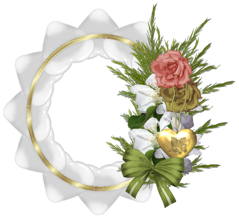 gold transparent round frame with white hearts and roses