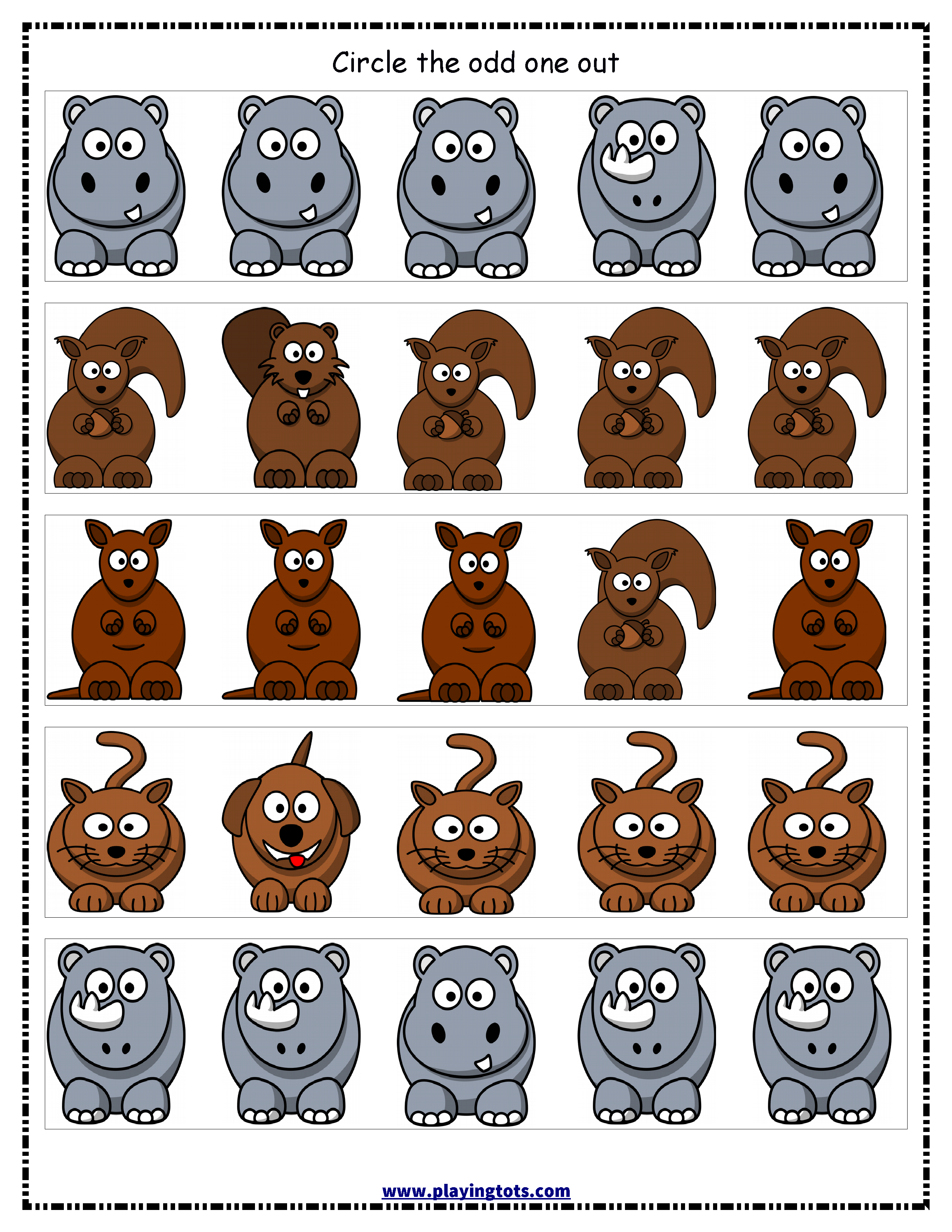 Worksheet Animals Odd One Out Free Printable Kids Toddler
