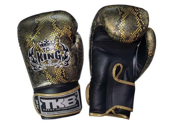 23b79a851 Luva Muay Thai de TOPKING   Cobra Preto-Ouro