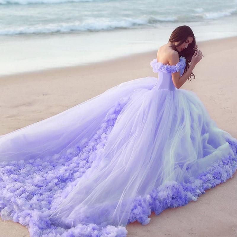 41dbeddba1 Off The Shoulder Tulle Flower Wedding Dresses Ball Gowns 2019 ...
