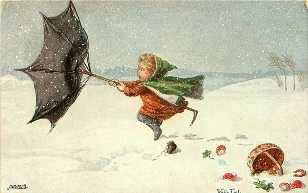 Christmas Greetings - Wind-Blown Umbrella by Wally Fialkowska (XX Century, Austrian)