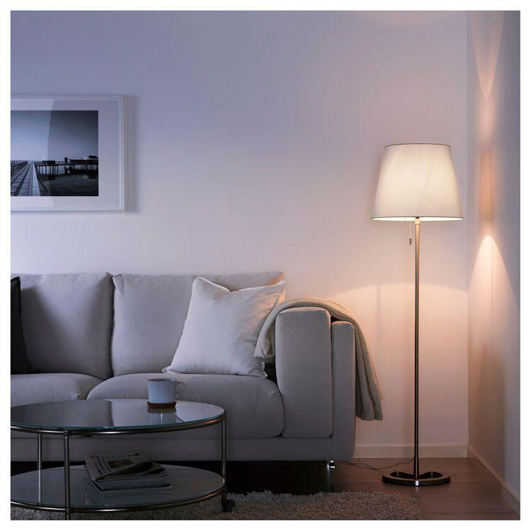NYFORS Floor lamp nickel plated white | White floor lamp