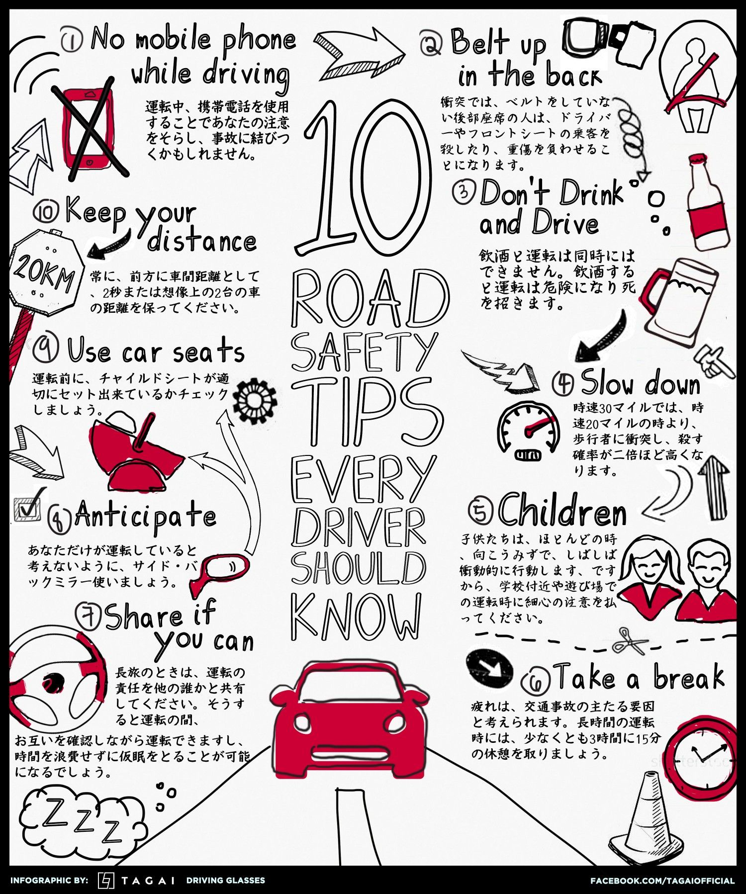 Top Ten Road Safety Tips for Drivers Infographic Road