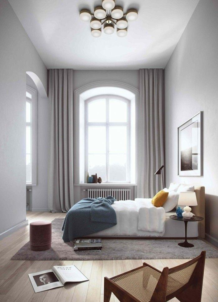 gardinen schlafzimmer elegante hellgrauegardinen und weiße wände - vorhnge schlafzimmer ideen
