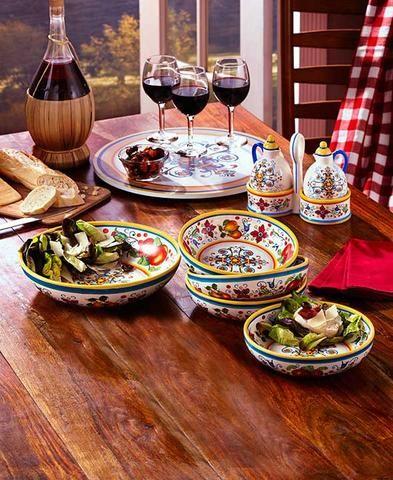 Italian Tuscan Style Dinnerware Cruet Bowls Lazy Susan Stoneware ...