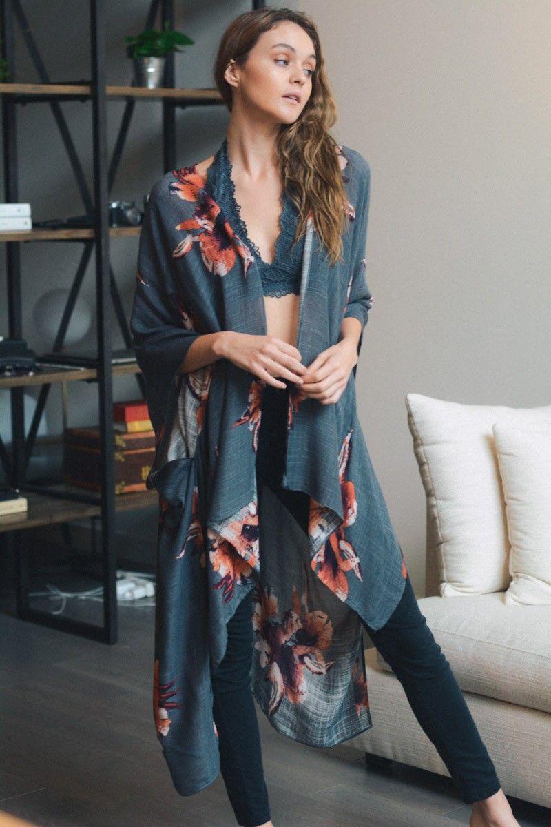 0df3ba238 leto wholesale floral print kimono wrap with armholes cute summer spring  outfit layer fashion style casual boho bohemian