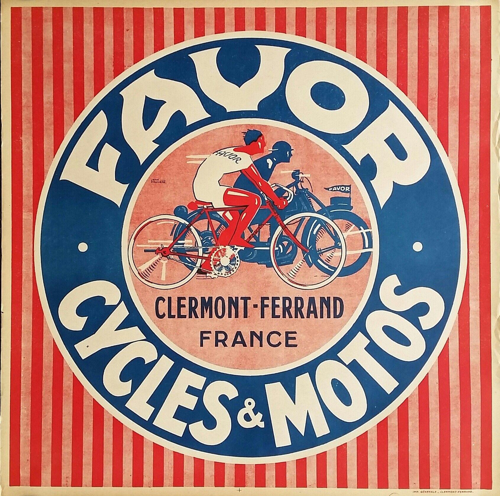 Original Vintage Motorcycle Poster Favor Cycles Et Motos Clermont Ferrand Jean Pruniere Motorcycle Posters Vintage French Posters Vintage Advertising Posters