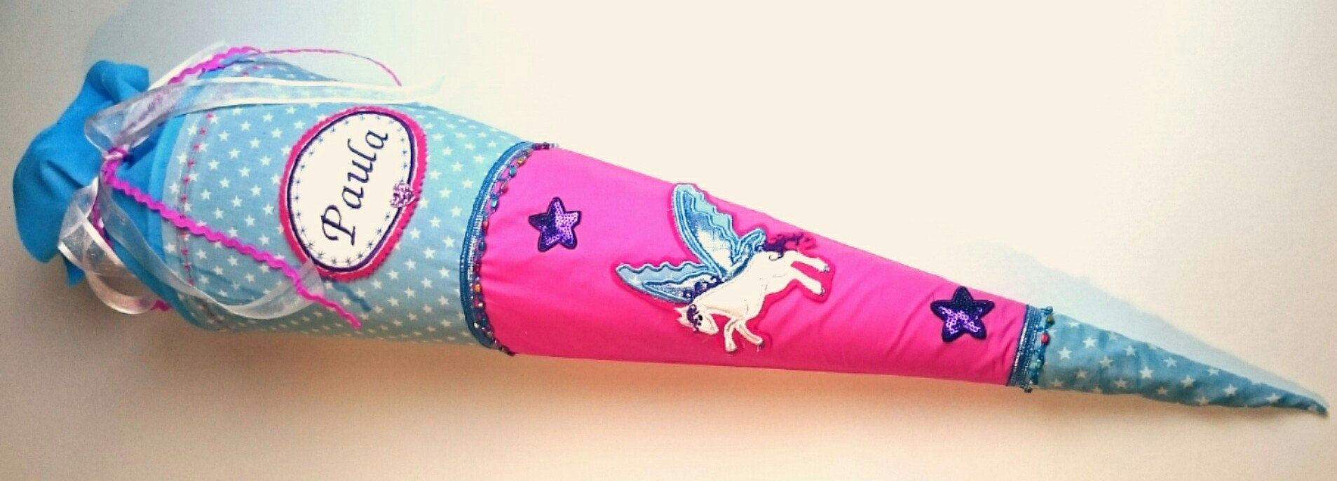 Schultute Sugar Bag Complete Rohling 70 Or 85 Cm Horse Pegasus M Name Dawanda And Later Pillow Inlet In 2020 Pegasus Fabric Covered Little Girls