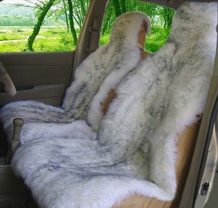 2 Pcs Genuine Sheepskin Long Wool Front Car Seat Cover White Grey ZH04 In Covers