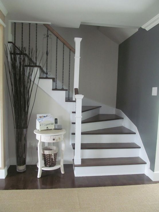 Axe Design Montreal Entrances Foyers Benjamin Moore Veranda Anchor Gray Staircase Greige Rug Maple Created By Interior