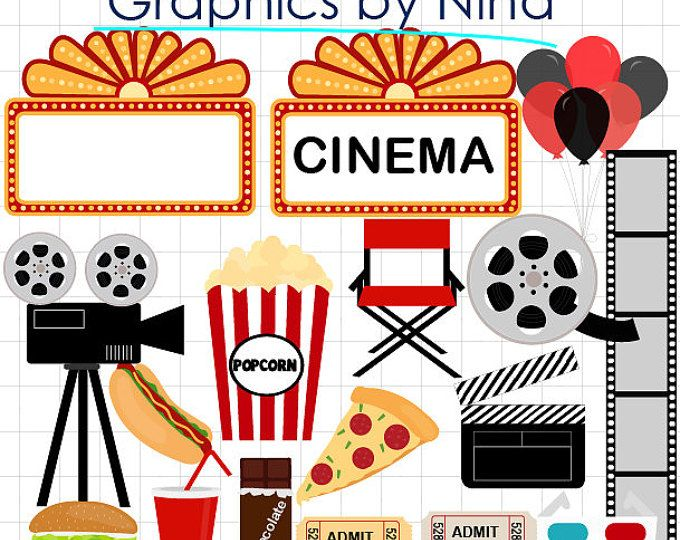 INSTANT DOWLOAD Movie Night Clipart Cinema Scrapbook For Personal And Commercial Use