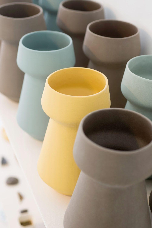 Yellow Ceramic Ceramic Vase Mothers Day Gift Modern Minimalist