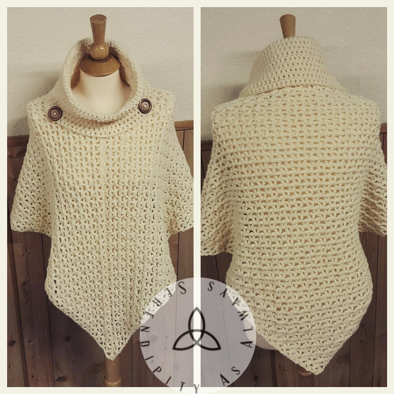 Easy Poncho Knitting Pattern Free : Easy crochet pattern cowl neck poncho women s