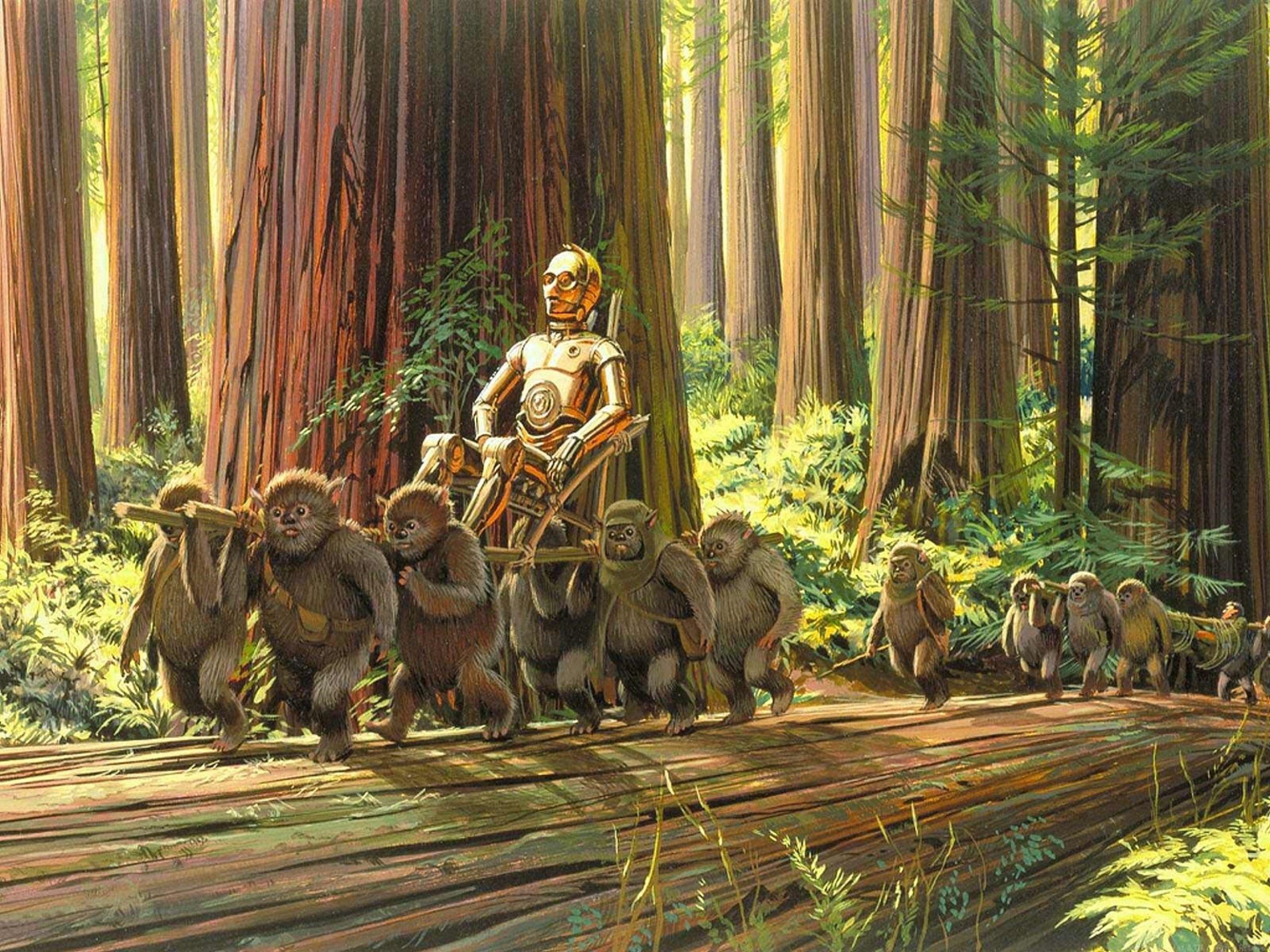 Star Wars C3po Artwork Ralph Mcquarrie Ewoks Wallpaper Hd Star Wars Concept Art Star Wars Artwork Star Wars Art
