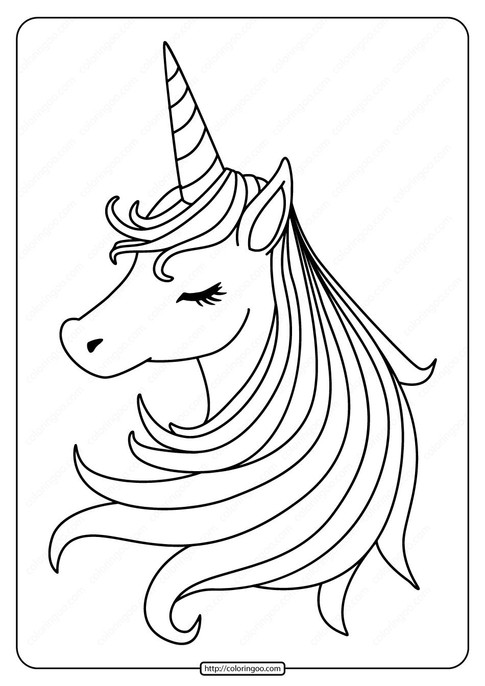 Free Printable Sleeping Unicorn Pdf Coloring Page. High quality