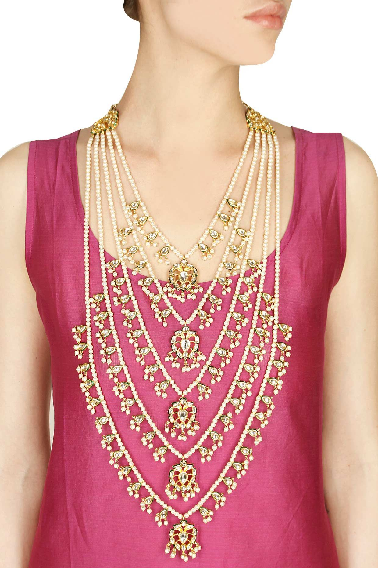 Gold Finish Kundan Stone And Pearl Chain Multi Strands Necklace Available  Only At Pernia's Pop