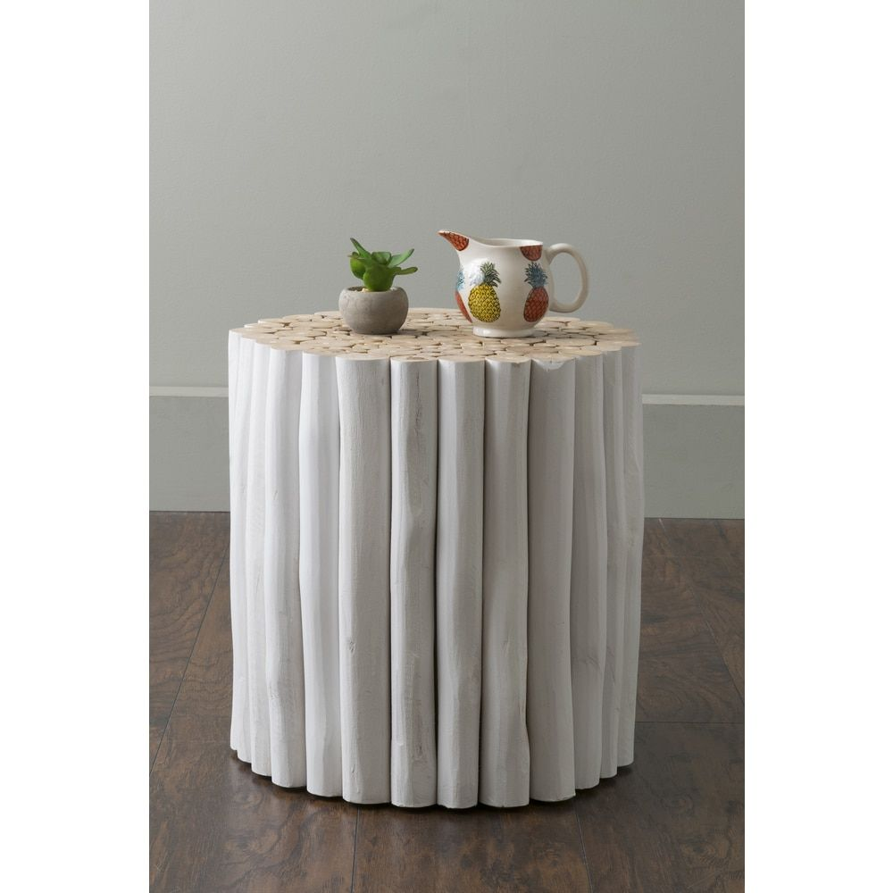 East at mainus stanley white round teakwood accent tablestool by