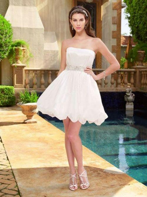 A-line Strapless Taffeta Short/Mini Sashes / Ribbons Wedding Dresses