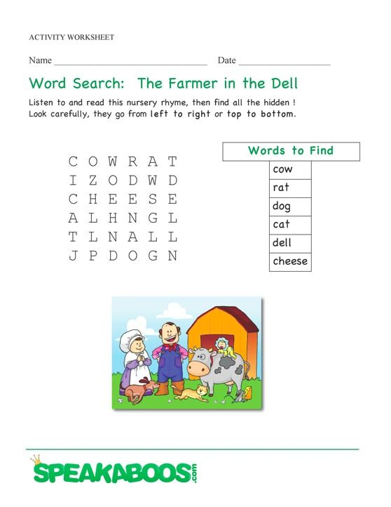 Word Search The Farmer In The Dell Speakaboos