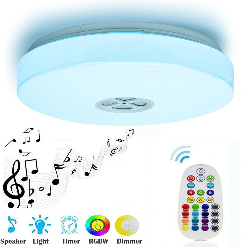 Ceiling Light 24w With Bluetooth Speaker Multi Color Changing And Dimmable28key Ir Remote Controlmou Lamps Living Room Led Ceiling Lamp Bathroom Light Fixtures