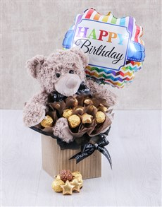 Balloon And Choc Plush Toy Birthday Hamper Edible
