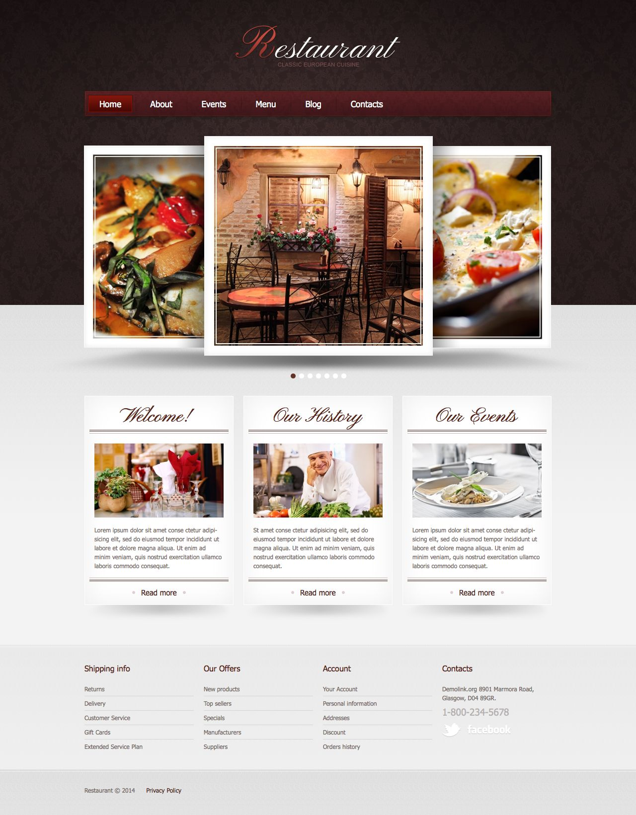 Website Company Profile Template Restaurant Cafe Company