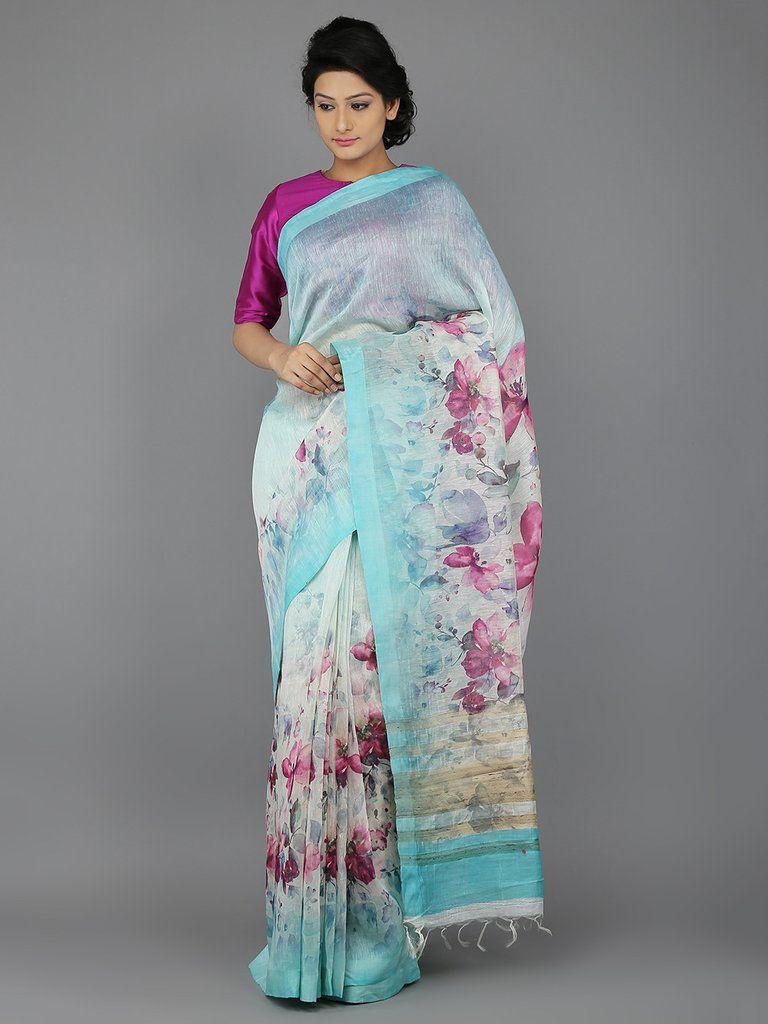 98948ea7f7815 Sky Blue Digital Printed Handwoven Linen Saree