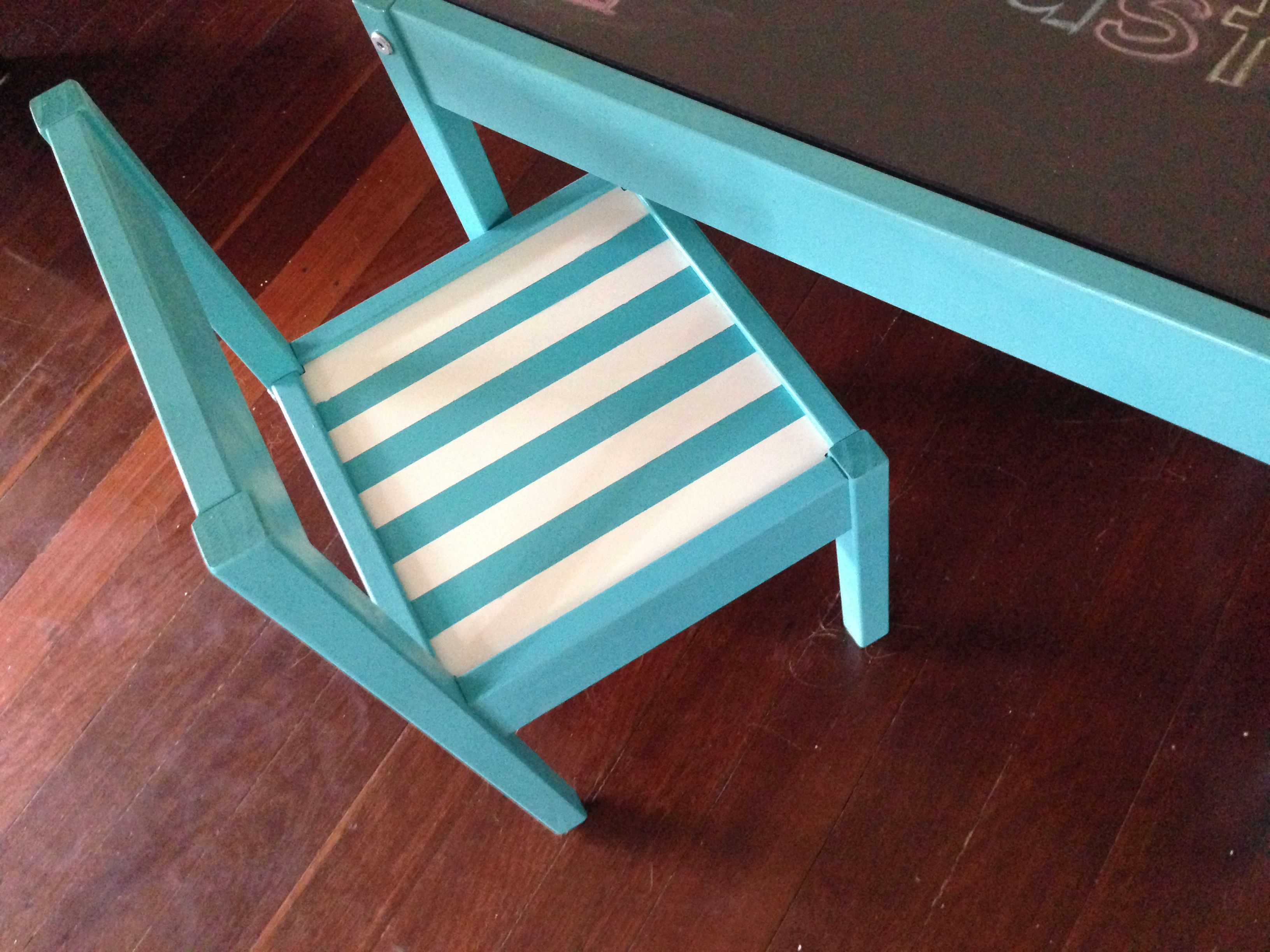 Ikea Latt Kids table hack Close up of chair Stripes on chair done