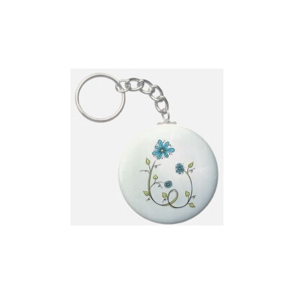 Blue Doodle Flower Keychains ($3.35) ❤ liked on Polyvore